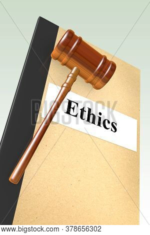 3d Illustration Of Ethics Title On Legal Document, Isolated Over Green Gradient.