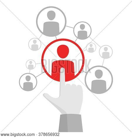 Networking Concept - Vector Flat Icon With Hand Showing Forefinger On People Avatar - Social Media O