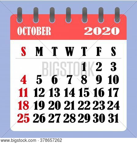 Letter Calendar For October 2020. The Week Begins On Sunday. Time, Planning And Schedule Concept. Fl