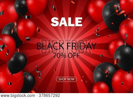 Black Friday Sale Typographic Design. Red Background With Red And Black Balloons For Seasonal Discou