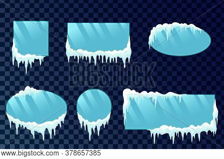 Winter Window Border Set With Snow Frost And Ice Effect Isolated On Transparent Background. Snow Ice