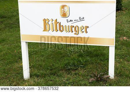 Bitburg, Germany - September 2, 2018: Bitburger Logo On A Signboard. Bitburger Brewery Is A Large Ge