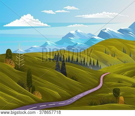 Asphalt Road At Green Summer Lawn Or Meadow. View At Beautiful Summer Landscape With Snowy Mountains