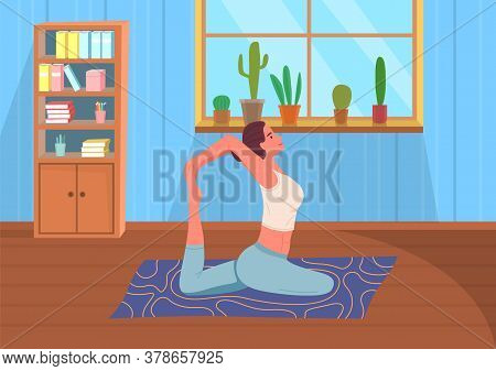 Young Woman Keep Calm, Making Yoga, Stretching Exercises Sitting At Carpet On Floor At Home. Young F