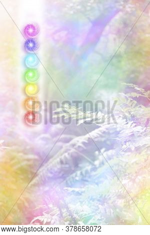 Seven Chakra And Beautiful Nature Background Vortex Stack  -  Vertical Row Of Seven Glowing Rainbow