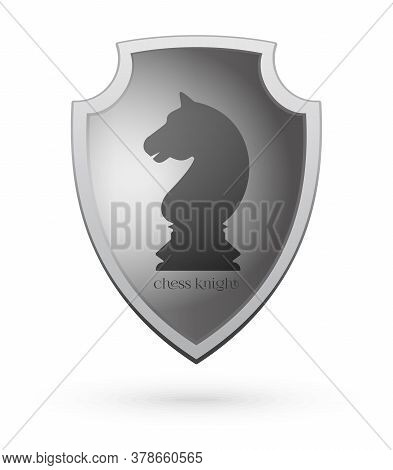 The Image Of A Chess Knight On A Shield. Chess Concept Design. Vector Illustration