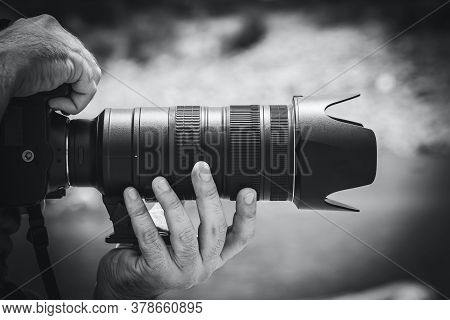 Black And White Picture Of A Person Using Dslr Camera.
