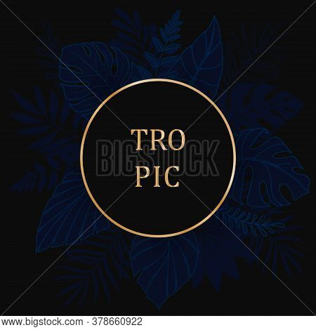 Luxury Gold And Indigo Blue Background Vector. Floral Pattern With Round Frame, Golden Line Arts. La