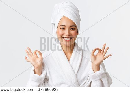 Personal Care, Women Beauty, Bath And Shower Concept. Close-up Of Relieved Attractive Asian Woman At
