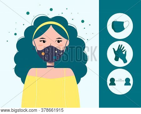 Vector Illustration Of Fashion Young Girl In Medical Mask With Cosmic Print, Surrounded By Bacteria