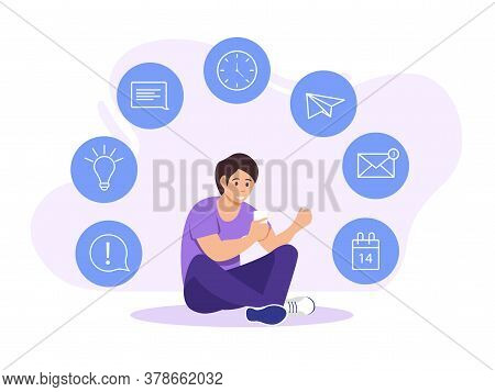 Young Businessman In Casual Clothes Sitting Planning His Strategy And The Development Of His Project