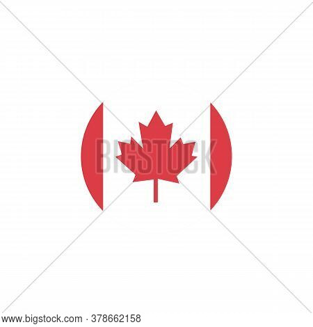 A Beautiful Symbol Of Canada Is The Flag Of Canada In A Circle.