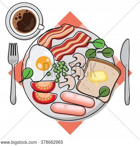 Full English Breakfast. Plate With Egg, Bacon, Toast, Mushrooms, Beans, Tomatoes, Sausages, Spinach.