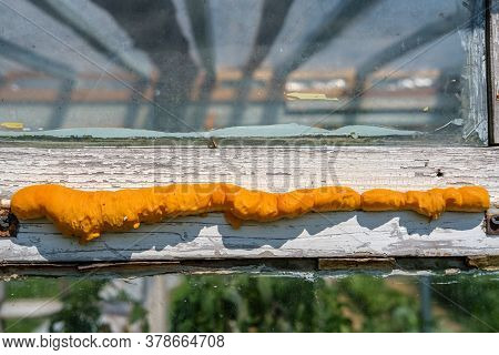 Thermal Insulation Of The Seams Of The Window Frame Of White Color With Glass Of The Greenhouse In T
