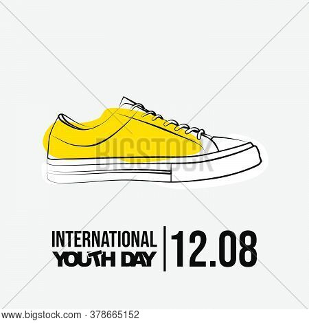Line Art Of Sneaker Shoes Vector Illustration. Perfect Template For International Youth Day Design W