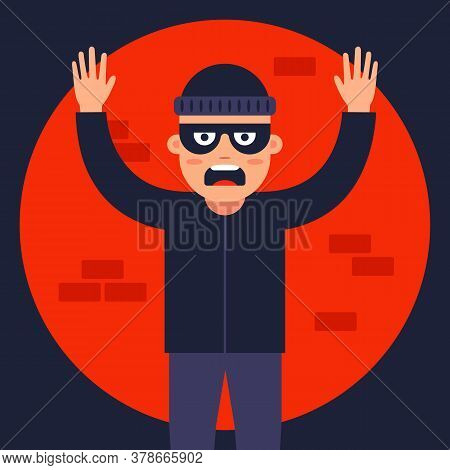 Police Officer Caught The Thief In The Spotlight. Find The Masked Robber. Flat Vector Illustration.