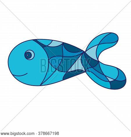 Fish Illustrations In Stained Glass Style. Isolated Object On A White Background For Print, Batik An