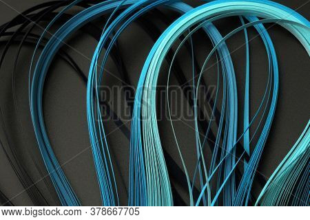 Blue (turquoise) color strip wave paper. Abstract texture black horizontal background.