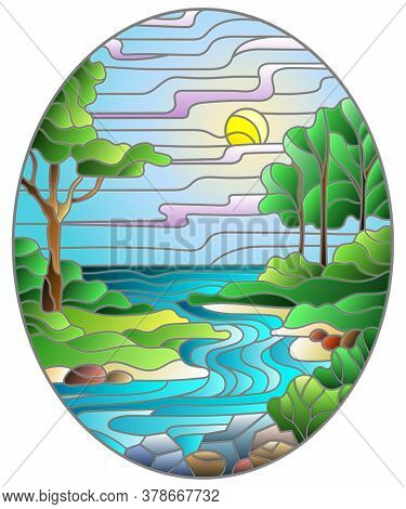 Illustration In Stained Glass Style With A Rocky Creek In The Background Of The Sunny Sky, Mountains