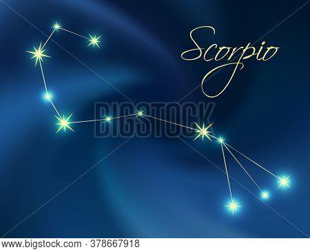 Scorpio Constellation Astrology Vector Illustration. Stars In Dark Blue Night Sky. Scorpio Zodiac Co