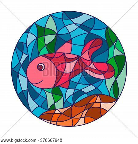 Colored Illustration In Stained Glass Style With Abstract Fish. Image For Print, Batik And Window.