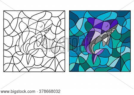Black And White And Colored Illustration In Stained Glass Style With Abstract Shark. Fish Image For