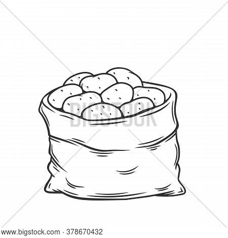 Sack Of Potatoes. Outline Vector Illustration Of Potato Harvest In Retro Style.