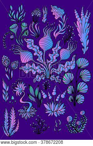Vintage Fantastic Colorful Big Set Alien Plants, Bright Neon Purple Pink Blue Color, Isolated On Vio