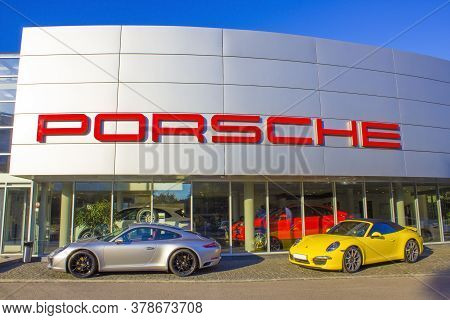 Kyiv, Ukraine - July 29, 2020: Porsche Automobile Dealership Exterior. Porsche Automobile Holding Is
