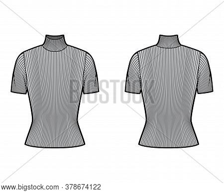 Turtleneck Ribbed-knit Sweater Technical Fashion Illustration With Short Rib Sleeves, Close-fitting