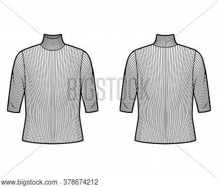 Turtleneck Ribbed-knit Sweater Technical Fashion Illustration With Elbow Sleeves, Oversized Body. Fl