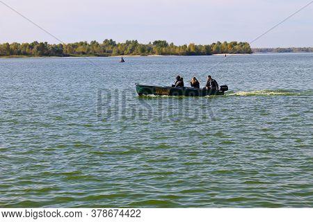 Kremenchug, Ukraine - September 30, 2016: Motorboat Floating In The River Dnieper