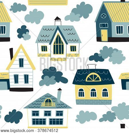 Vector Seamless Pattern With Village. Loop Pattern For Fabric, Textile, Posters, Gift Wrapping Paper
