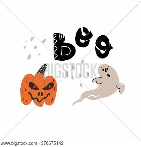 Creepy Pumpkin With Spooky Smile And Burning Red Eyes Scary Cute Ghost. Boo Funny Hand Drawn Letteri