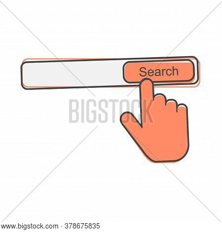 Search Button Vector Icon. The Hand Presses The Search Button On The Internet Cartoon Style On White