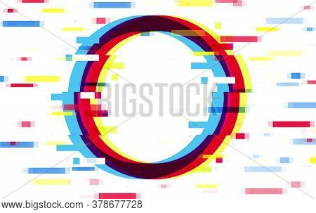 An Illuminated Circle Frame With Glitch Effect And A Place For Text Distorted Glitch Style Modern Ba
