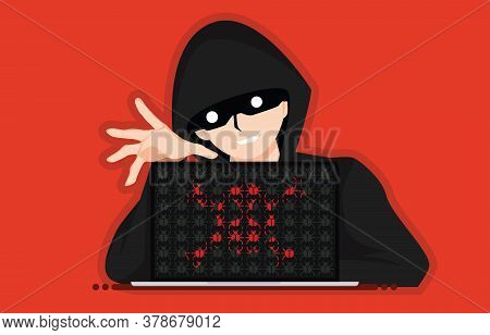 Hacker Anonymous Distribute Bugs And Viruses On Laptop After Attack. Design By Red Skull With Malwar