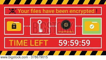 Computer Infected By Malware Ransomware Wannacry Virus. Cyber Attack Concept. Hacker Encrypted Compu