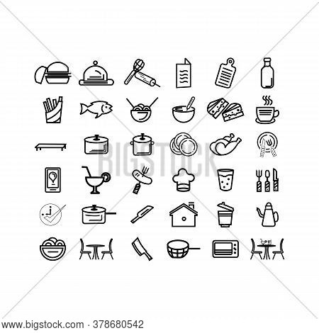 Restaurant And Food Line Out Icons Set Contains Such Icons As Fast Food Vector Pack And Cooking Ware