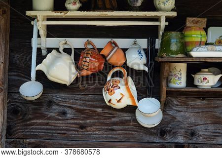 Rustic Kitchenware On The Wooden House Background, Countryside Theme
