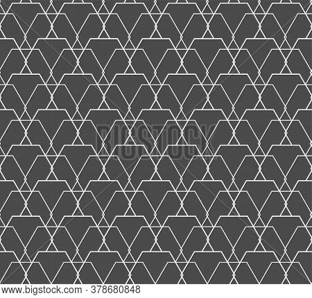 Repetitive Wave Vector Hex, Print Pattern. Seamless Tileable Graphic Rhombus Repeat Texture. Repeat