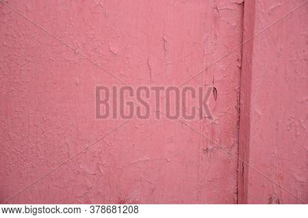 Part Of Shabby Pink Wooden Door. Horizontal Texture
