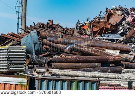 Large Pile Of Collected Scrap Metal For Recycling On The Territory Of The Metal Collection Point.