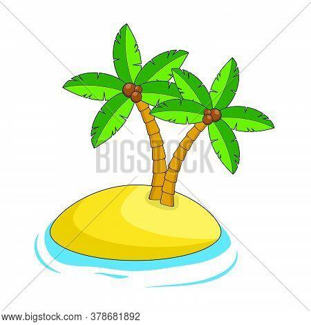 Desert Island Illustration Isolated On White. Exotic Paradise Land. Cartoon Caribbean Edge With Sand