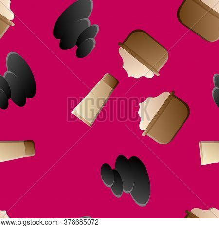 Seamless Pattern From Cosmetic Objects Cream,eye Shadow, Brushes, Foundation Cream, Mascara.