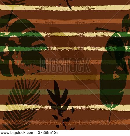 Sailor Stripes Vector Seamless Pattern, Brown Green Khaki Exotic Floral Print. Brushed Jungle Leaves