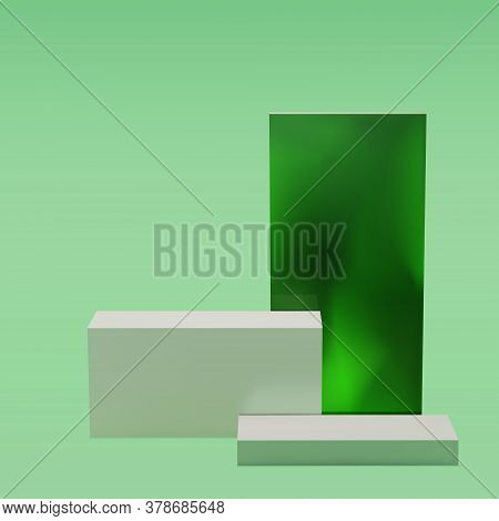 White Blocks Podium On A Green Background With Green Glass Cube, Studio. For Product Display, Exhibi