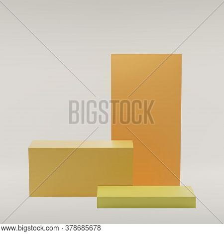 Yellow Boxes Podium On A White Background, Studio. For Product Display, Exhibition, Show. Minimal St