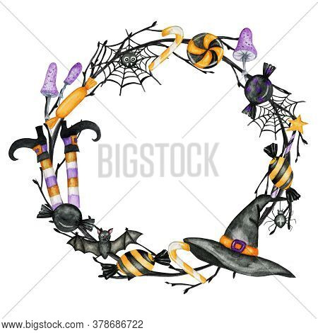 Happy Halloween Holiday Party Frame With Wich Hat, Bat, Spider, Candy Sweets Party Decorations. Wate