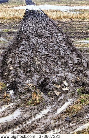 Plowed Field In Autumn, Part Of The Field Was Plowed And Created Off-road For Different Types Of Tra